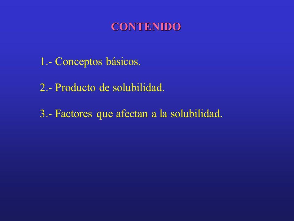 CONTENIDO 1.- Conceptos básicos. 2.- Producto de solubilidad. 3.- Factores que afectan a la solubilidad.