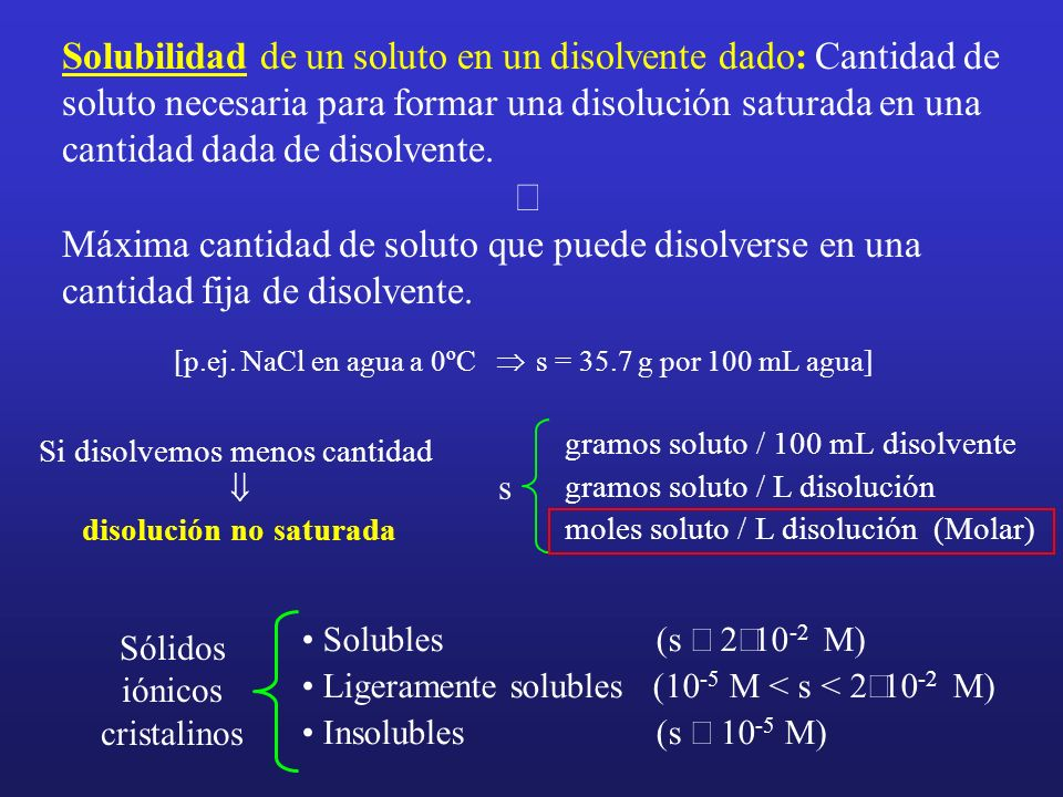 Solubilidad de un soluto en un disolvente dado: Cantidad de soluto necesaria para formar una disolución saturada en una cantidad dada de disolvente. M