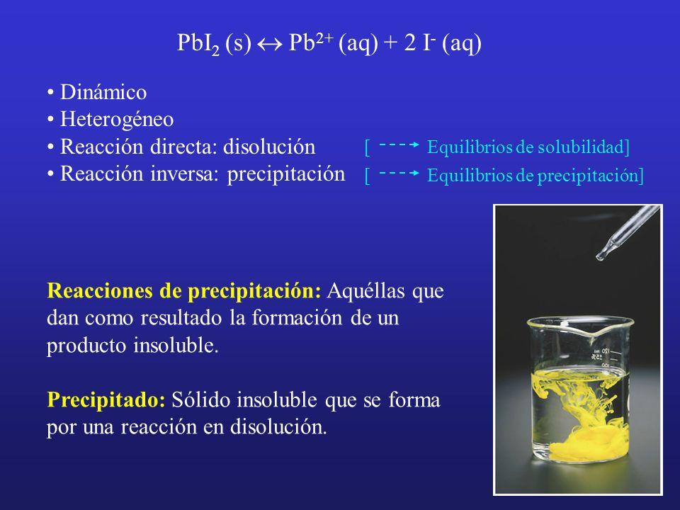 PbI 2 (s) Pb 2+ (aq) + 2 I - (aq) Dinámico Heterogéneo Reacción directa: disolución Reacción inversa: precipitación [ Equilibrios de solubilidad] [ Eq