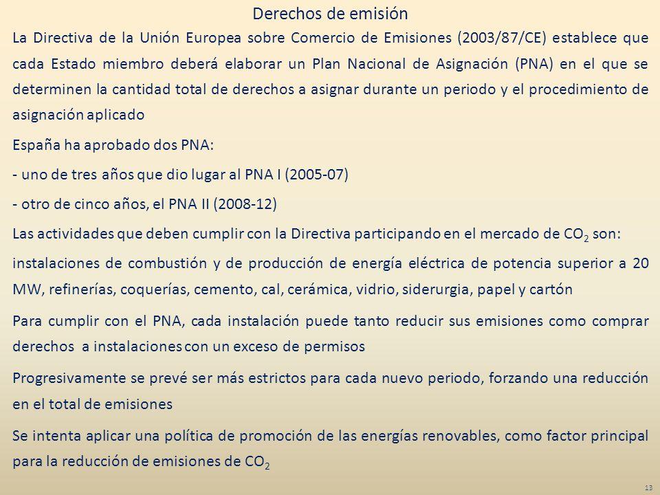 La Directiva de la Unión Europea sobre Comercio de Emisiones (2003/87/CE) establece que cada Estado miembro deberá elaborar un Plan Nacional de Asigna