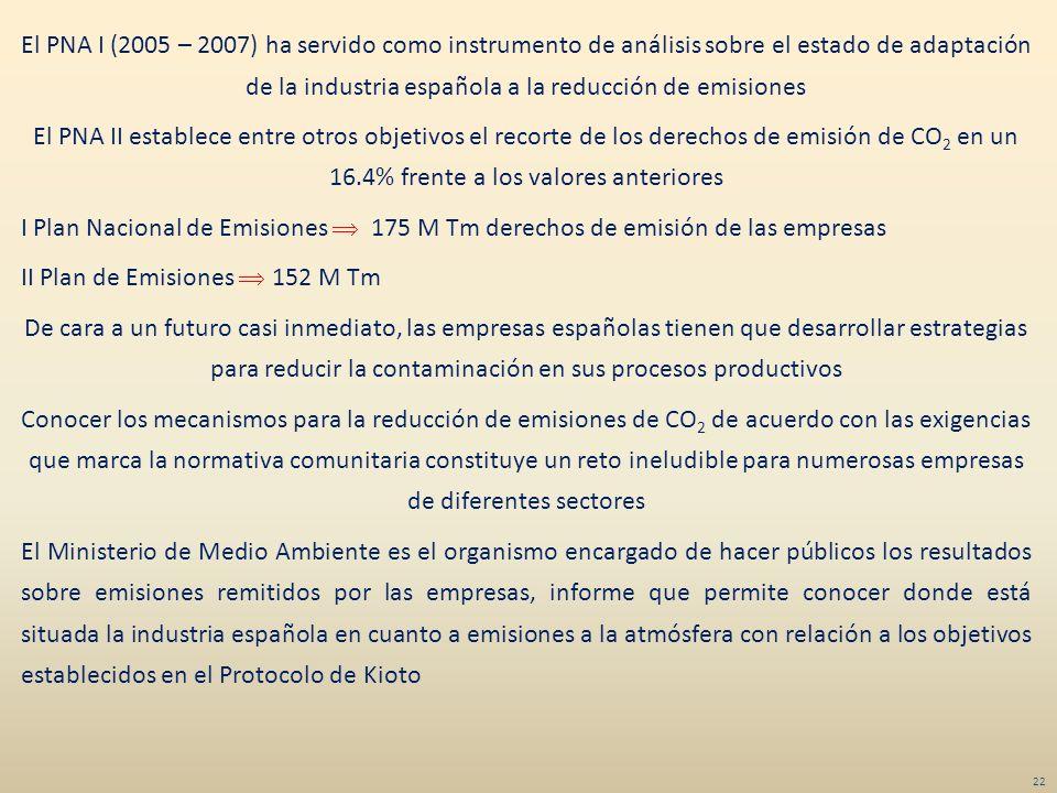 El PNA I (2005 – 2007) ha servido como instrumento de análisis sobre el estado de adaptación de la industria española a la reducción de emisiones El P