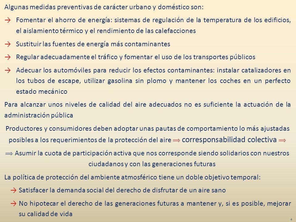 Algunas medidas preventivas de carácter urbano y doméstico son: Fomentar el ahorro de energía: sistemas de regulación de la temperatura de los edifici