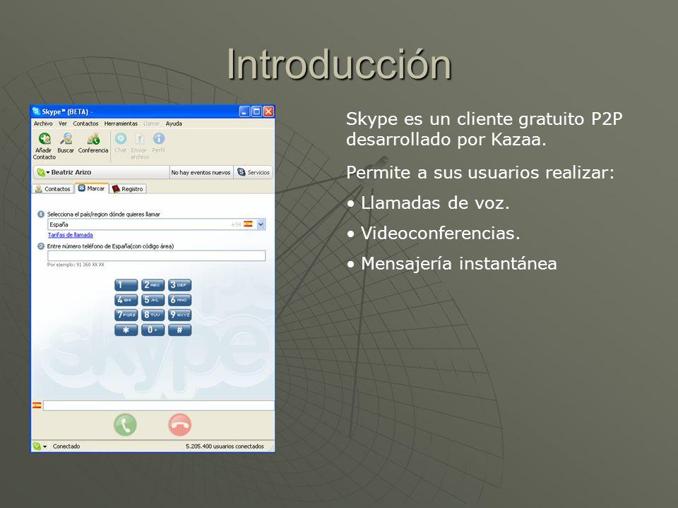 Introducción Skype es un cliente gratuito P2P desarrollado por Kazaa. Permite a sus usuarios realizar: Llamadas de voz. Videoconferencias. Mensajería