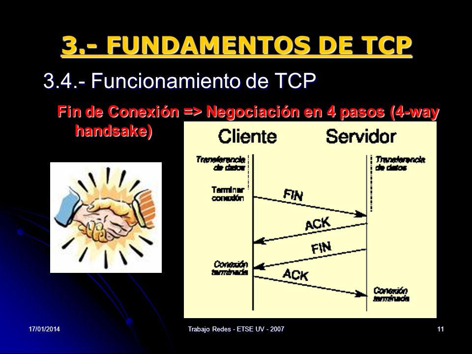 17/01/2014Trabajo Redes - ETSE UV - 200711 3.- FUNDAMENTOS DE TCP 3.4.- Funcionamiento de TCP Fin de Conexión => Negociación en 4 pasos (4-way handsak