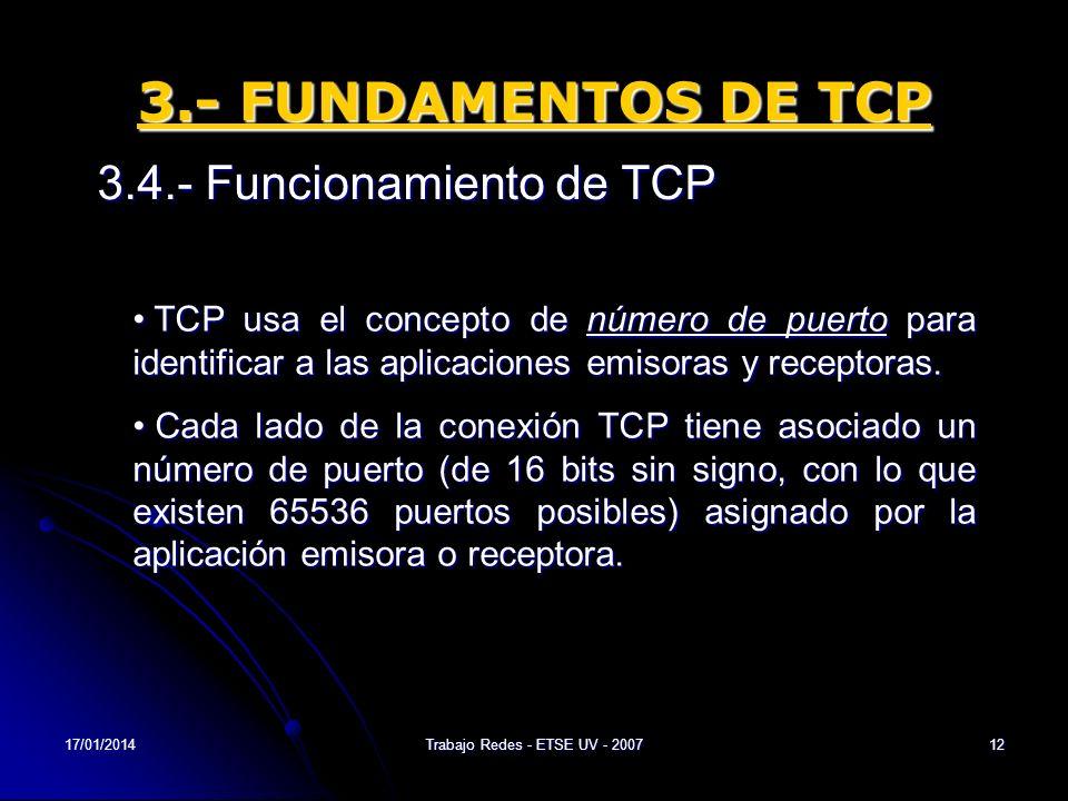 17/01/2014Trabajo Redes - ETSE UV - 200712 3.- FUNDAMENTOS DE TCP 3.4.- Funcionamiento de TCP TCP usa el concepto de número de puerto para identificar