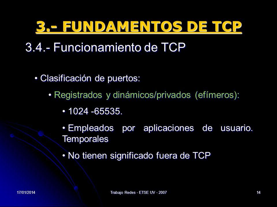 17/01/2014Trabajo Redes - ETSE UV - 200714 3.- FUNDAMENTOS DE TCP 3.4.- Funcionamiento de TCP Clasificación de puertos: Clasificación de puertos: Regi