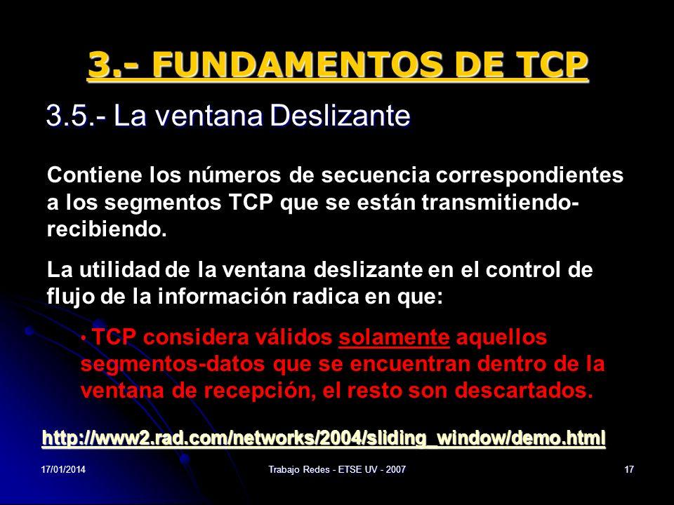 17/01/2014Trabajo Redes - ETSE UV - 200717 3.- FUNDAMENTOS DE TCP 3.5.- La ventana Deslizante Contiene los números de secuencia correspondientes a los