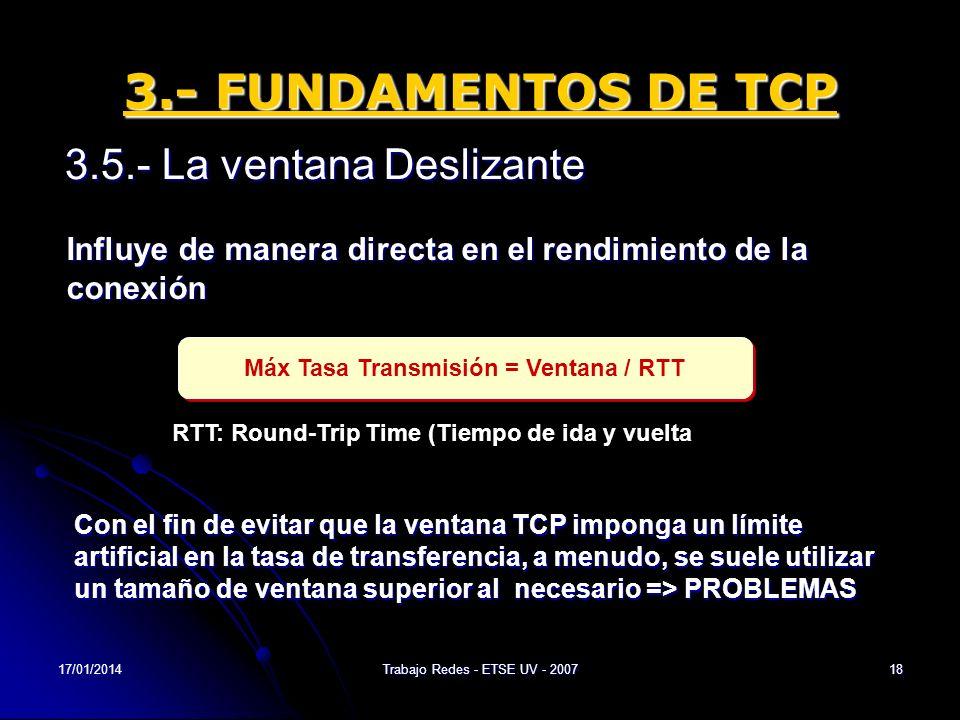 17/01/2014Trabajo Redes - ETSE UV - 200718 3.- FUNDAMENTOS DE TCP 3.5.- La ventana Deslizante Influye de manera directa en el rendimiento de la conexi