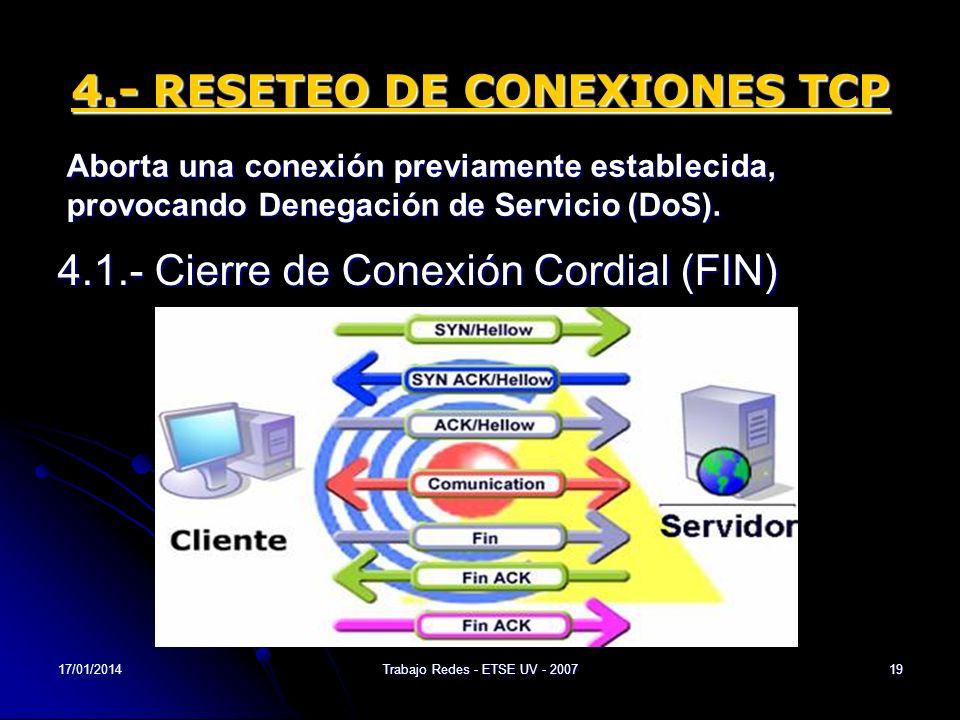 17/01/2014Trabajo Redes - ETSE UV - 200719 4.- RESETEO DE CONEXIONES TCP 4.1.- Cierre de Conexión Cordial (FIN) Aborta una conexión previamente establ