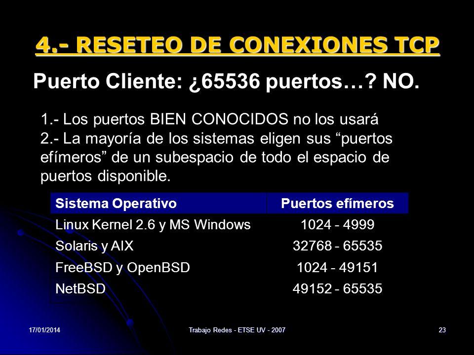 17/01/2014Trabajo Redes - ETSE UV - 200723 4.- RESETEO DE CONEXIONES TCP Puerto Cliente: ¿65536 puertos…? NO. 1.- Los puertos BIEN CONOCIDOS no los us