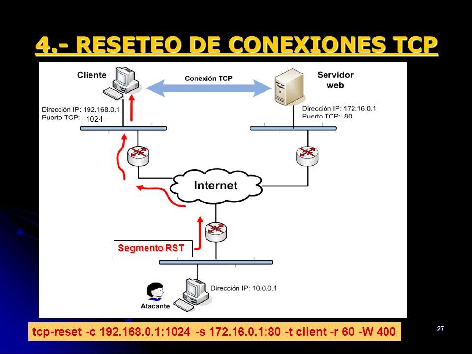 17/01/2014Trabajo Redes - ETSE UV - 200727 4.- RESETEO DE CONEXIONES TCP tcp-reset -c 192.168.0.1:1024 -s 172.16.0.1:80 -t client -r 60 -W 400 1024 Se