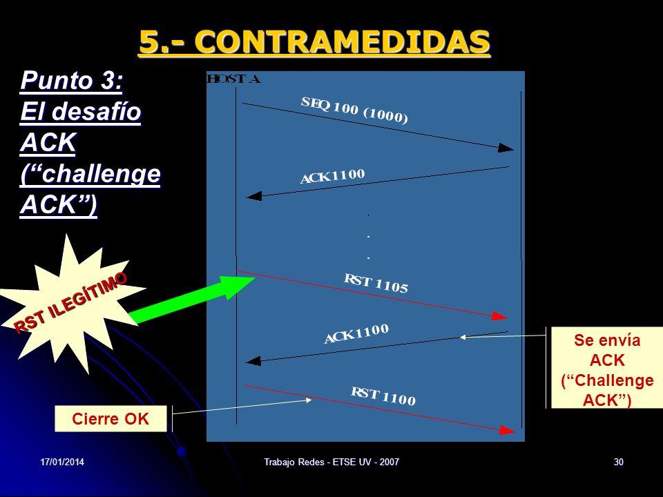 17/01/2014Trabajo Redes - ETSE UV - 200730 5.- CONTRAMEDIDAS Punto 3: El desafío ACK (challenge ACK) RSTILEGÍTIMO RST ILEGÍTIMO Se envía ACK (Challeng
