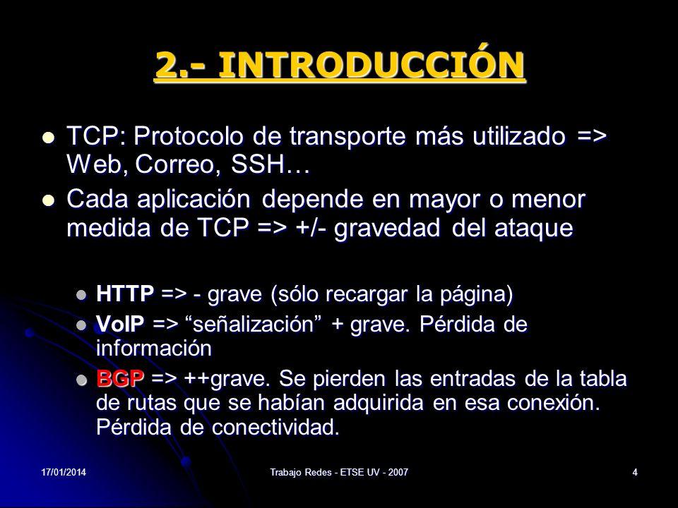 17/01/2014Trabajo Redes - ETSE UV - 20075 3.- FUNDAMENTOS DE TCP 3.1.- El protocolo TCP Transmission Control Protocol (1973 – 1974), Vint Cerf y Robert Kahn es uno de los protocolos fundamentales en Internet.