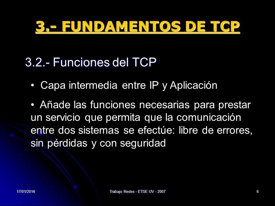 17/01/2014Trabajo Redes - ETSE UV - 20076 3.- FUNDAMENTOS DE TCP 3.2.- Funciones del TCP Capa intermedia entre IP y Aplicación Añade las funciones nec