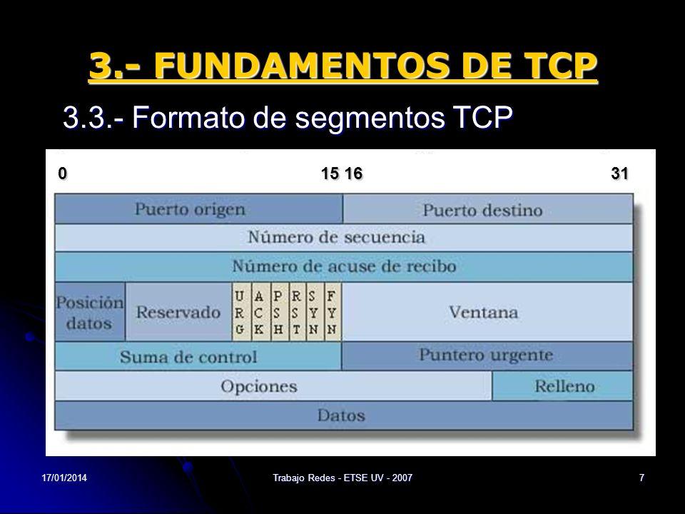 17/01/2014Trabajo Redes - ETSE UV - 20078 3.- FUNDAMENTOS DE TCP 3.4.- Funcionamiento de TCP Las conexiones TCP se componen de tres etapas: 1.Establecimiento de Conexión => Negociación en tres pasos (3-way handshake) 2.Transferencia de Datos 3.Fin de Conexión => Negociación en 4 pasos (4- way handsake)