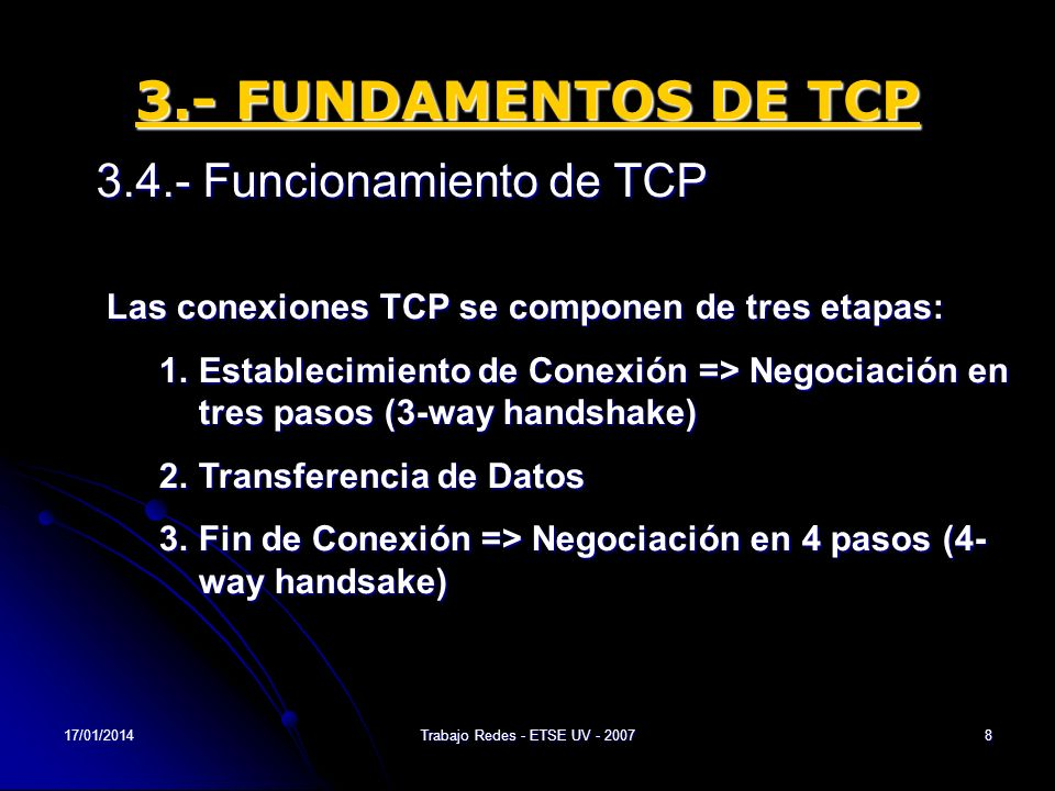 17/01/2014Trabajo Redes - ETSE UV - 20078 3.- FUNDAMENTOS DE TCP 3.4.- Funcionamiento de TCP Las conexiones TCP se componen de tres etapas: 1.Establec