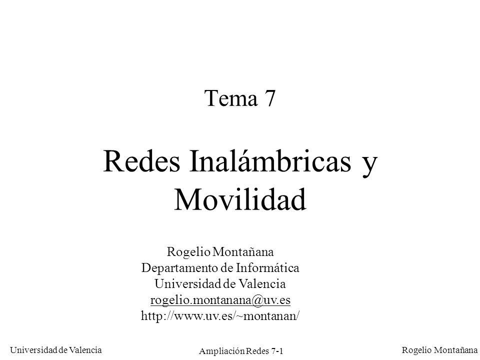 Universidad de Valencia Rogelio Montañana Ampliación Redes 7-2 Sumario LANs inalámbricas: IEEE 802.11 y 802.15 Redes de telefonía celular: GSM, GPRS, UMTS IP móvil