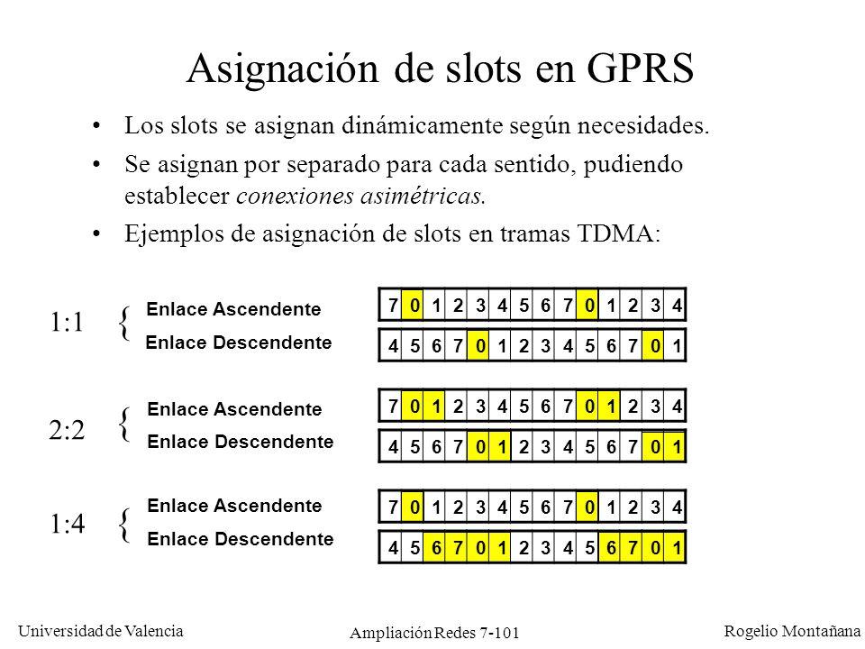 Universidad de Valencia Rogelio Montañana Ampliación Redes 7-102 Velocidad en GPRS Cada canal de radio: 8 ranuras GPRS emplea hasta 8 ranuras (un canal completo): GSM: 1 conexión 1 ranura 1 conexión para datos 9.6 Kb/s 2 tipos de conexiones en GPRS: Estáticas: se usan única y exclusivamente para datos.