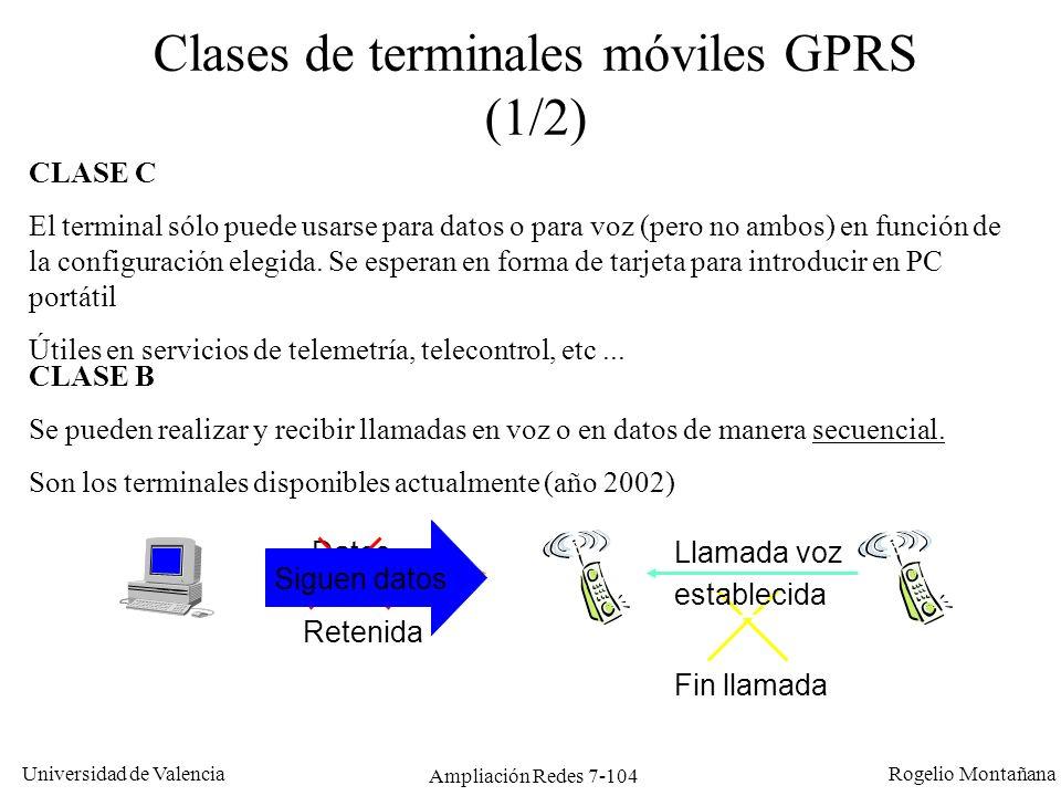Universidad de Valencia Rogelio Montañana Ampliación Redes 7-105 Clases de terminales móviles GPRS (2/2) CLASE A Soportan tráfico simultáneo.