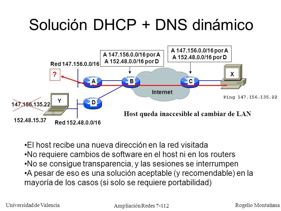 Universidad de Valencia Rogelio Montañana Ampliación Redes 7-113 Solución LAM (Local Area Mobility) Propietaria Cisco 147.156.135.22 A 147.156.0.0/16 por A A 152.48.0.0/16 por D A 147.156.135.22/32 por D A D CB Internet A 147.156.0.0/16 por A A 152.48.0.0/16 por D Red 147.156.0.0/16 Red 152.48.0.0/16 Ping 147.156.135.22 A 147.156.135.22/32 por E0 A 147.156.135.22/32 por B Ofrece transparencia y portabilidad, pero no movilidad.