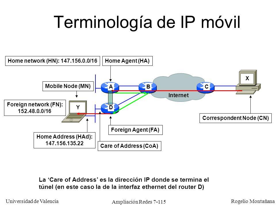 Universidad de Valencia Rogelio Montañana Ampliación Redes 7-116 Ventajas de IP móvil Sólo el HA (Home Agent) y el FA (Foreign Agent) necesitan saber la ubicación del host móvil.