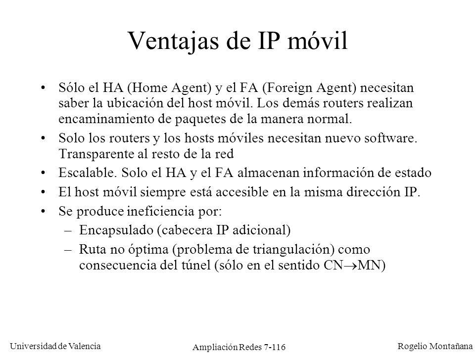 Universidad de Valencia Rogelio Montañana Ampliación Redes 7-117 Funcionamiento de IP móvil Para el funcionamiento de IP móvil es fundamental que el MN localice a su FA.