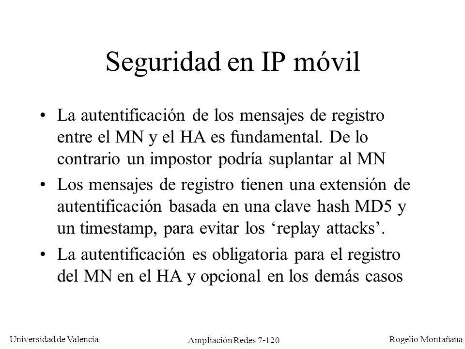 Universidad de Valencia Rogelio Montañana Ampliación Redes 7-121 Comunicación de hosts de la HN con el MN 147.156.135.22 A D B HN: 147.156.0.0/16 FN: 152.48.0.0/16 MN FA HA X 1: Un datagrama de MN a X (que está en la HN) llega sin problemas usando las rutas estándar (D-B-A).