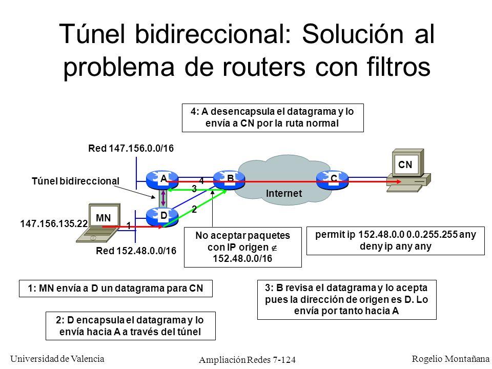 Universidad de Valencia Rogelio Montañana Ampliación Redes 7-125 IP móvil sin Foreign Agent A 147.156.0.0/16 por A A 152.48.0.0/16 por D A D CB Internet A 147.156.0.0/16 por A A 152.48.0.0/16 por D Red 147.156.0.0/16 Red 152.48.0.0/16 Ping 147.156.135.22 Al MN se le asigna una IP de la red visitada (por DHCP u otro mecanismo) Esta IP actúa como Care of Address (co-located Care of Address) El túnel va directamente desde el Home Agent hacia el Mobile Node Evita establecer un FA en cada red, pero requiere disponer en la red visitada de un rango de direcciones reservado para CoA y el software del host es más complejo Paquetes encapsulados HA 152.48.11.12 (CoA) MN CN 147.156.135.22 Túnel IP de HA hacia MN