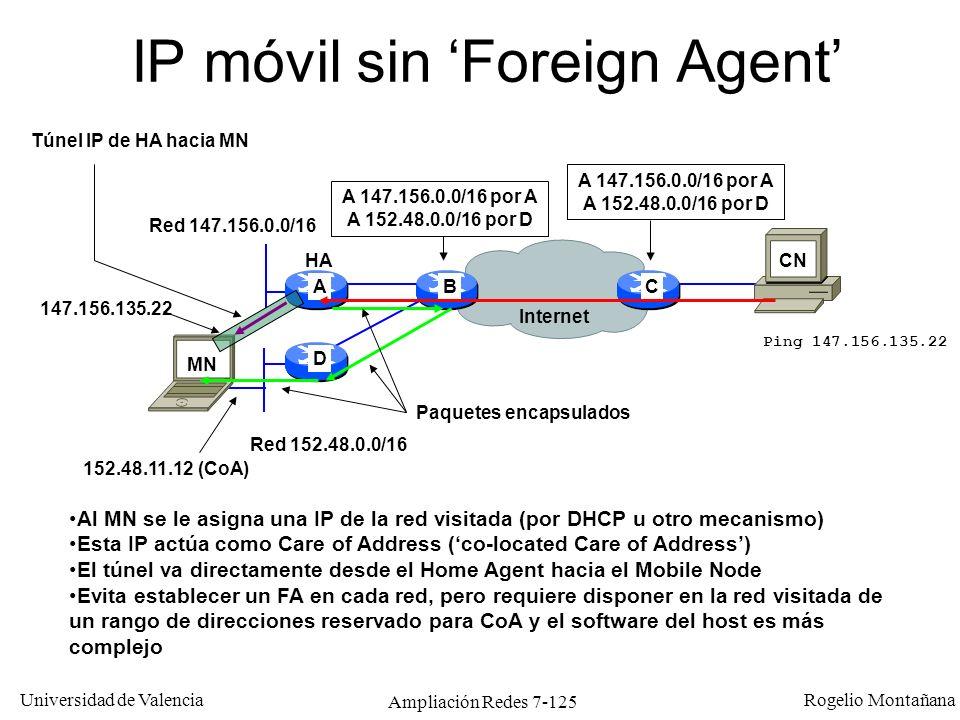 Universidad de Valencia Rogelio Montañana Ampliación Redes 7-126 Encapsulado de IP Móvil CN MN TCP/UDPDatosHA FA(CoA) Túnel HA FA: CN MNTCP/UDPDatosHA MN(CoA) Túnel HA MN: MN CNTCP/UDPDatosFA(CoA) HA Túnel FA HA: MN CNTCP/UDPDatosMN(CoA) HA Túnel MN HA: Datagrama original IP origen IP destino Cabecera IP original Cabecera IP túnel Ida: Vuelta: