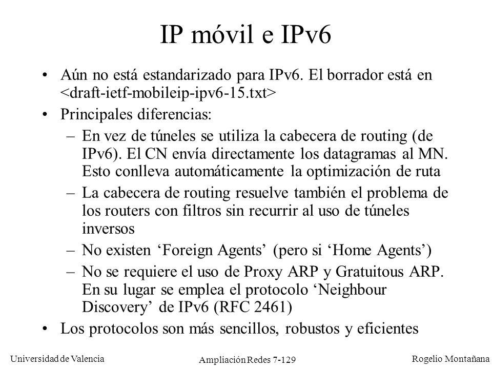 Universidad de Valencia Rogelio Montañana Ampliación Redes 7-129 IP móvil e IPv6 Aún no está estandarizado para IPv6. El borrador está en Principales