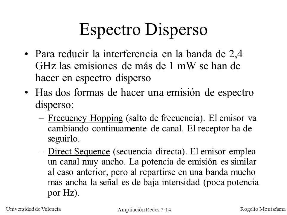 Universidad de Valencia Rogelio Montañana Ampliación Redes 7-15 Frequency Hopping vs Direct Sequence Frequency Hopping Direct Sequence Frecuencia 2,4 GHz 2,4835 GHz C.