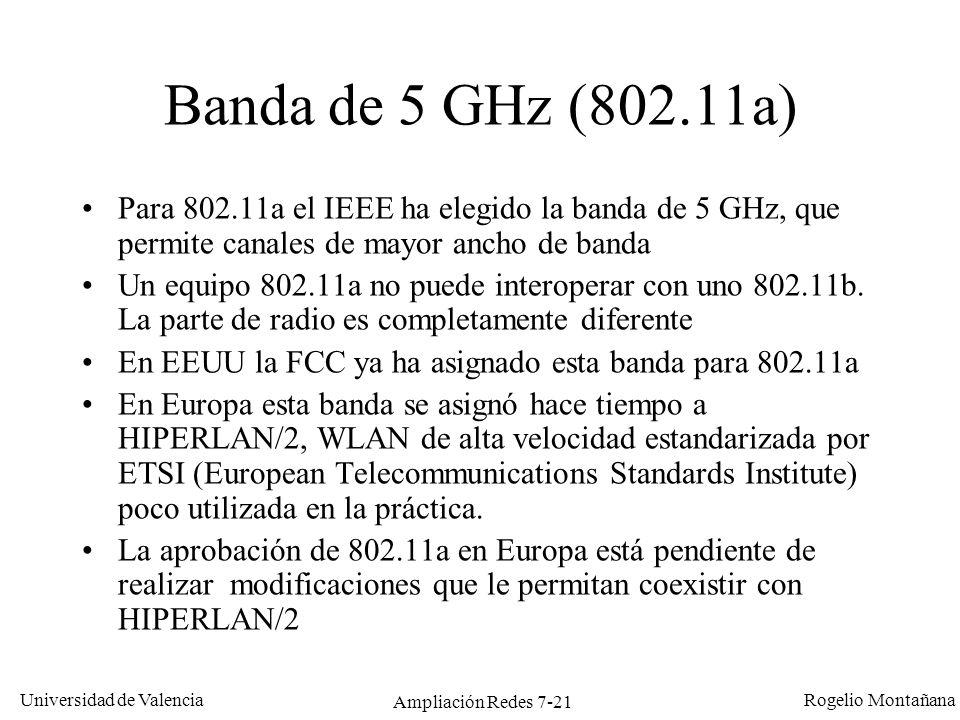 Universidad de Valencia Rogelio Montañana Ampliación Redes 7-22 Interferencias Externas: –Bluetooth interfiere con FHSS (usan la misma banda).