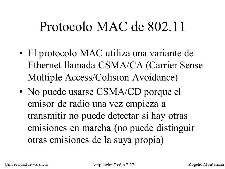 Universidad de Valencia Rogelio Montañana Ampliación Redes 7-28 Protocolo CSMA/CA Cuando una estación quiere enviar una trama escucha primero para ver si alguien está transmitiendo.