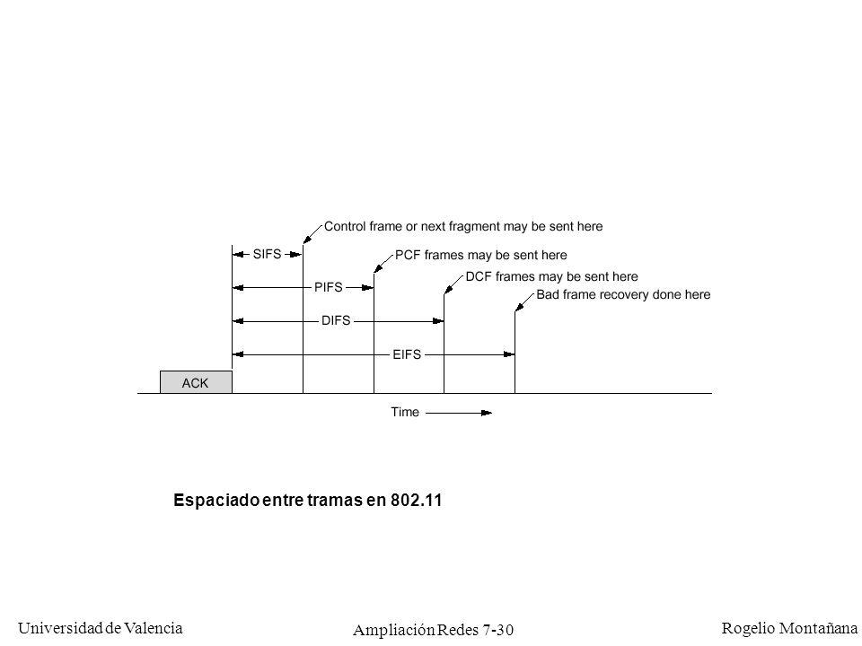 Universidad de Valencia Rogelio Montañana Ampliación Redes 7-31 Colisiones Pueden producirse porque dos estaciones a la espera elijan el mismo número de intervalos (mismo tiempo aleatorio) para transmitir después de la emisión en curso.