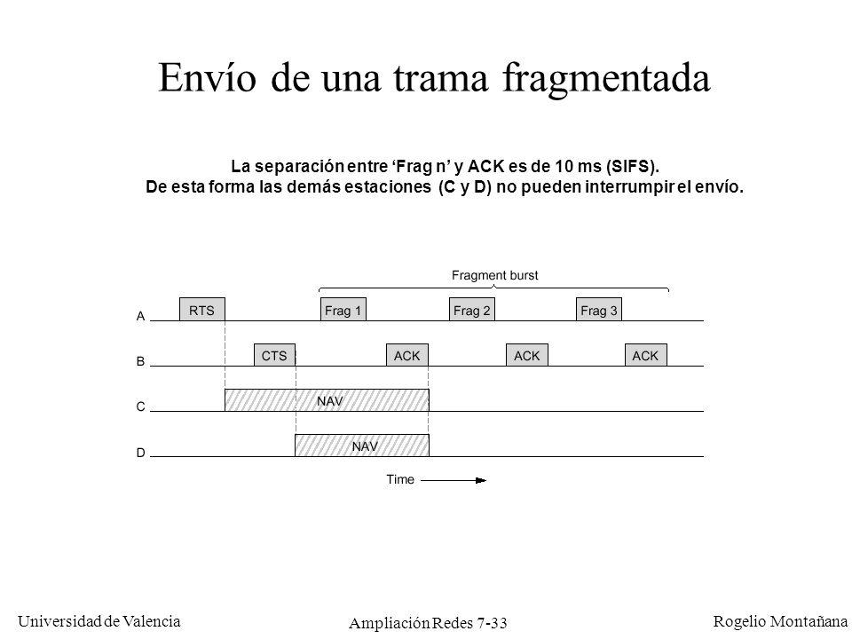 Universidad de Valencia Rogelio Montañana Ampliación Redes 7-34 El problema de la estación oculta A B C 1: A quiere transmitir una trama a B.