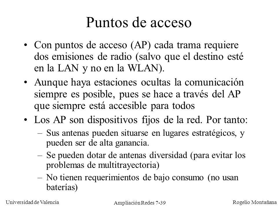 Universidad de Valencia Rogelio Montañana Ampliación Redes 7-40 Internet Topología de un ESS (Extended Service Set) Canal 1 Canal 6 Sistema de distribución (DS) El DS es el medio de comunicación entre los AP.