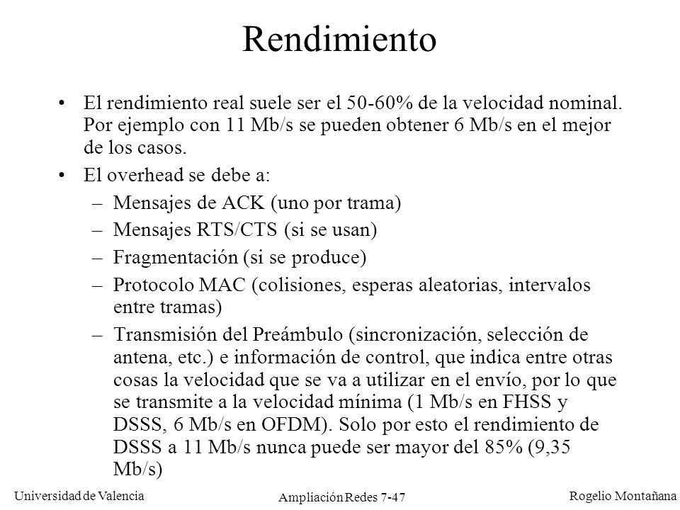 Universidad de Valencia Rogelio Montañana Ampliación Redes 7-48 Seguridad Los clientes y el punto de acceso se asocian mediante un SSID (System Set Identifier) común.