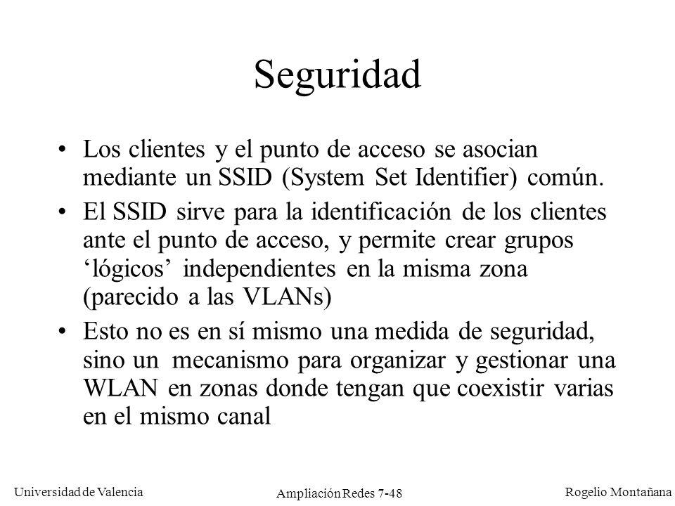 Universidad de Valencia Rogelio Montañana Ampliación Redes 7-49 Seguridad Se dispone de mecanismos de autentificación y de encriptación.