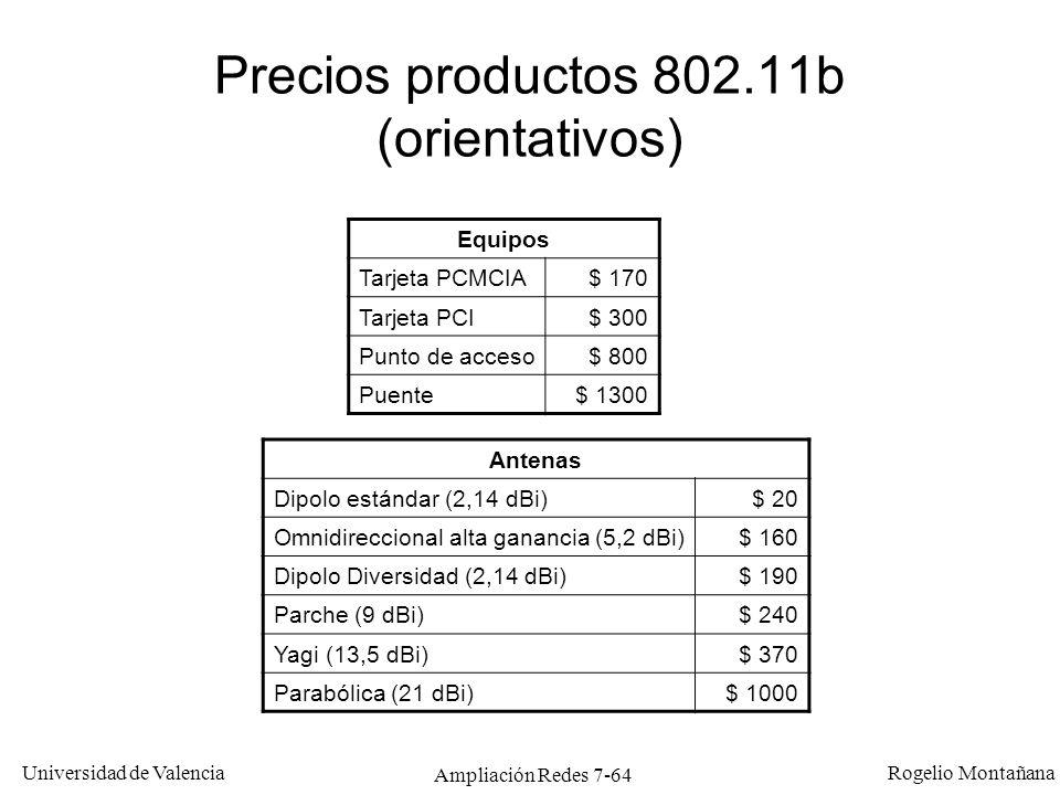 Universidad de Valencia Rogelio Montañana Ampliación Redes 7-65 LANs Inalámbricas Comparación tecnologías, historia y Modelo de Referencia Nivel físico Nivel MAC Ejemplos de aplicación Puentes inalámbricos Bluetooth (IEEE 802.15)