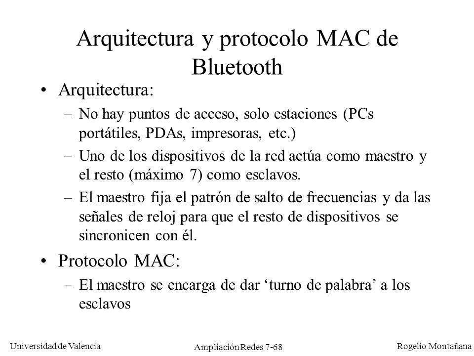 Universidad de Valencia Rogelio Montañana Ampliación Redes 7-69 Dos picoredes se pueden unir para formar una scatternet Topología de una red Bluetooth