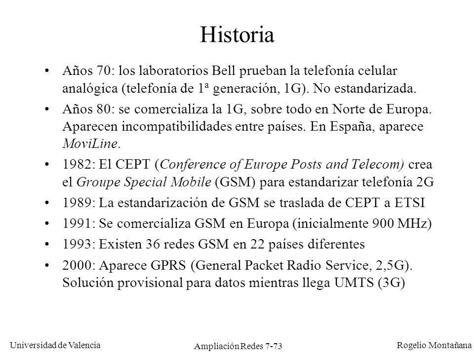 Universidad de Valencia Rogelio Montañana Ampliación Redes 7-74 Objetivos de GSM Uso mas eficiente del espectro que la telefonía analógica, utilizando técnicas de multiplexación en tiempo y frecuencia.