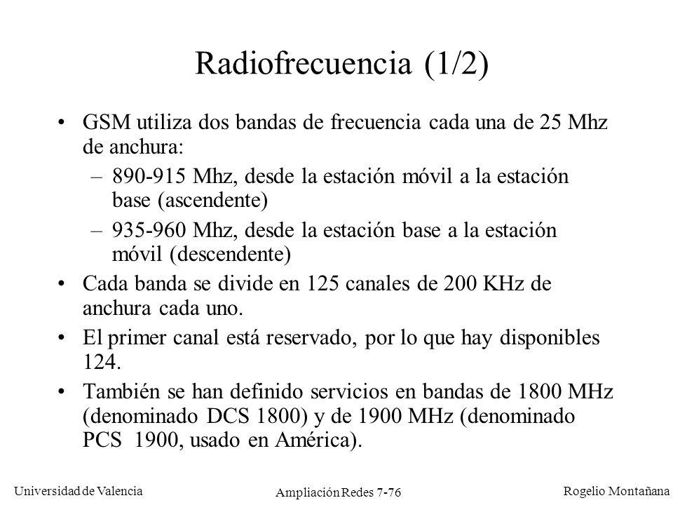 Universidad de Valencia Rogelio Montañana Ampliación Redes 7-77 Asignación de frecuencias en telefonía celular digital en el mundo