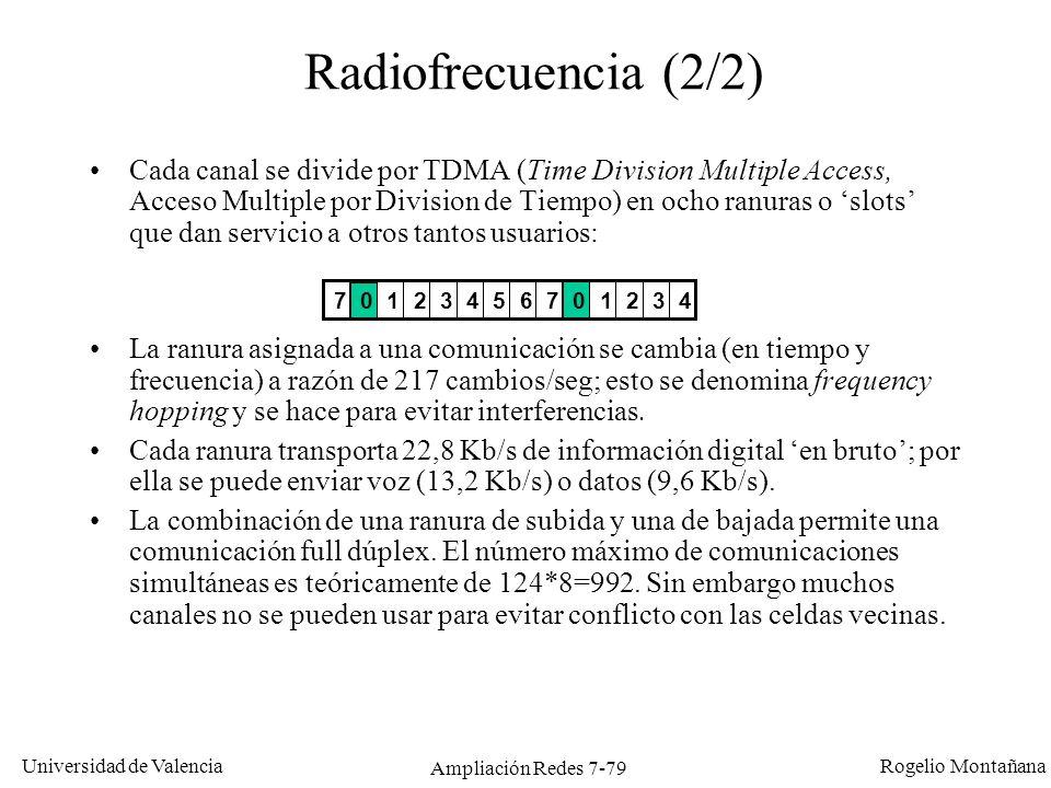 Universidad de Valencia Rogelio Montañana Ampliación Redes 7-80 Uso de frecuencias en GSM 890,2 MHz 890,4 MHz 914,8 MHz 935,2 MHz 935,4 MHz 959,8 MHz 1 2 124 1 2 Desc.