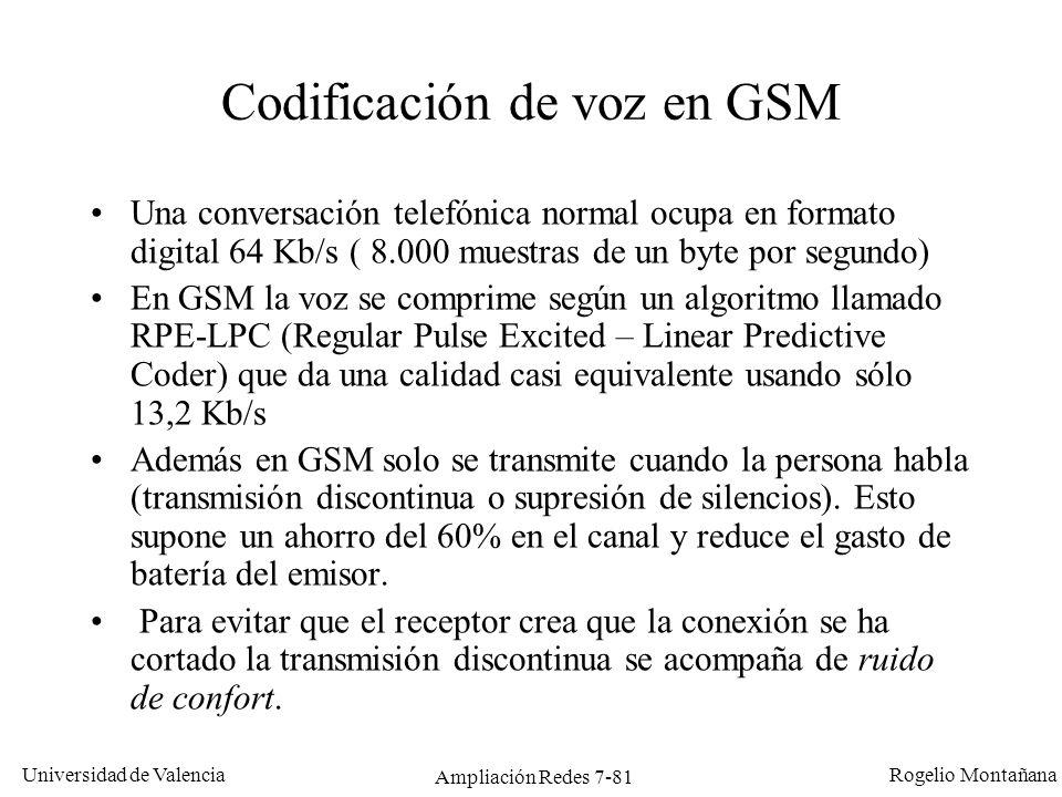 Universidad de Valencia Rogelio Montañana Ampliación Redes 7-82 Terminales GSM Los terminales puedes ser de tres tipos según su potencia: –Fijos (en vehículos): 20 W (vatios) –Portables (de maletín): 5 y 8 W –De mano: 2 y 0,8 W El alcance máximo (independientemente de la potencia) es de 35 Km.