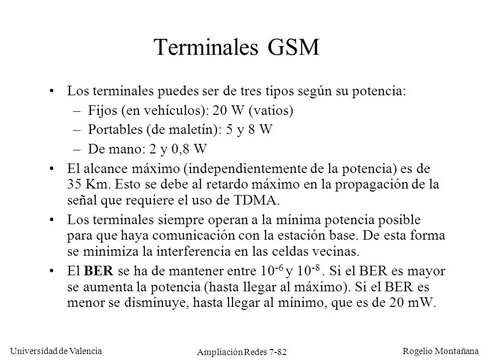 Universidad de Valencia Rogelio Montañana Ampliación Redes 7-83 Celdas GSM El área atendida por una estación base (BTS) se denomina celda.
