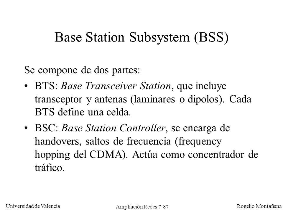 Universidad de Valencia Rogelio Montañana Ampliación Redes 7-88 NSS: Network Switching Subsystem (1/3) Esta formada por ocho componentes: 1.MSC (Mobile Services Switching Center): Es el componente central del NSS y se encarga de realizar las labores de conmutación dentro de la red, así como de proporcionar conexión con otras redes.