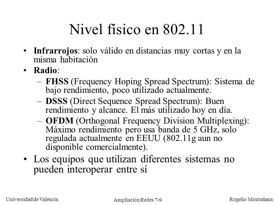 Universidad de Valencia Rogelio Montañana Ampliación Redes 7-10 Medios del nivel físico en 802.11 Nivel físicoInfrarrojosFHSSDSSSOFDM Banda850 – 950 nm2,4 GHz 2,4 y 5 GHz Velocidades * 1 y 2 Mb/s (802.11) 1 y 2 Mb/s (802.11) 5,5 y 11 Mb/s (802.11b) 6, 9, 12, 18, 24, 36, 48 y 54 Mb/s (802.11a) Hasta 54 Mb/s (802.11g) Alcance (a vel.