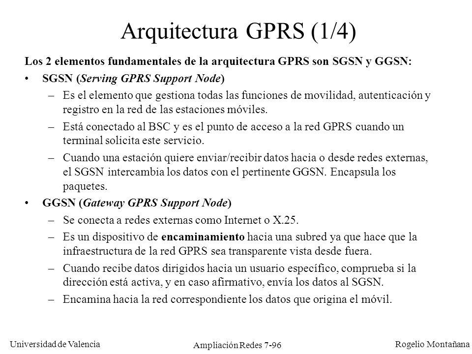 Universidad de Valencia Rogelio Montañana Ampliación Redes 7-97 Arquitectura GPRS (2/4) INTERNET HLR GSM Red GSM BSC MSC GPRS PCU INTERNET GGSN SGSN DATOS VOZ
