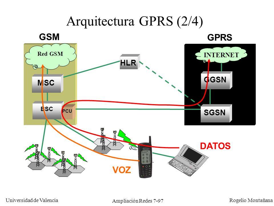 Universidad de Valencia Rogelio Montañana Ampliación Redes 7-98 Arquitectura GPRS (3/4) Internet Red Corporación 1 Red Corporación 2 Red IP 155.222.31.0/24 Red IP 191.200.44.0/24 Red IP 131.44.15.0/24 Host móvil 155.222.31.55 Host 191.200.44.21 Host 131.44.15.69 El GGSN se comporta como un router, de forma que camufla las características especiales de la red GPRS desde el punto de vista de la red externa Red GSM/GPRS Routers GGSN