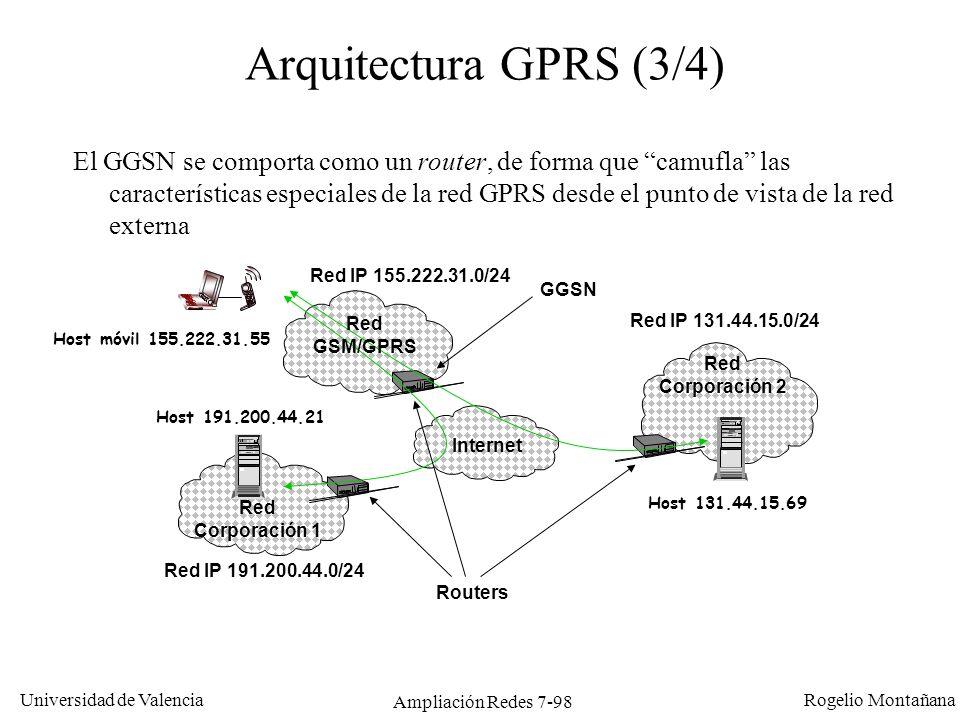 Universidad de Valencia Rogelio Montañana Ampliación Redes 7-99 Arquitectura GPRS (4/4) La red GPRS es una nueva red de Conmutación de Paquetes que se superpone y convive con la actual estructura de Conmutación de Circuitos propia de GSM RTB/RDSI Otras redes BTS BSC MSC/VLR GMSC HLR GSM Conmutación de Circuítos GSM BSS Internet Intranet GPRS Conmutación de Paquetes SGSN GGSN